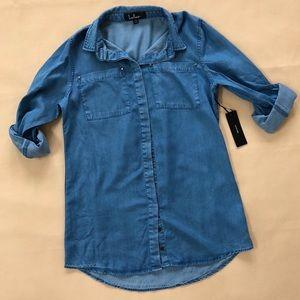 9505e0447d Lulu's SHIRT AND SWEET BLUE CHAMBRAY SHIRT DRESS NWT